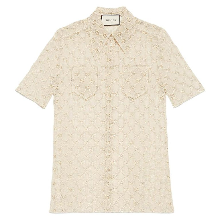 GUCCI off-white cotton GG MACRAME Short Sleeve Button Up Shirt Blouse 40 S For Sale