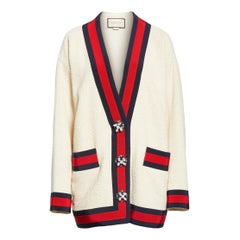 GUCCI off-white cotton Oversized Boucle Cardigan Sweater 40 S