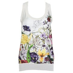 Gucci Off White Floral Printed Silk Paneled Knit Sleeveless Top M
