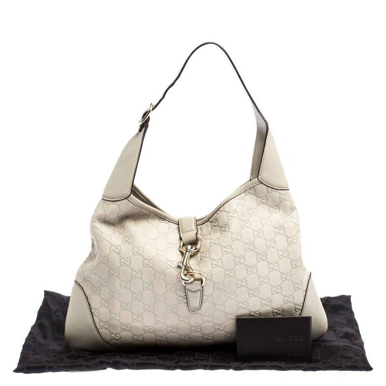Gucci Off White Guccissima Leather New Jackie Medium Hobo For Sale 8
