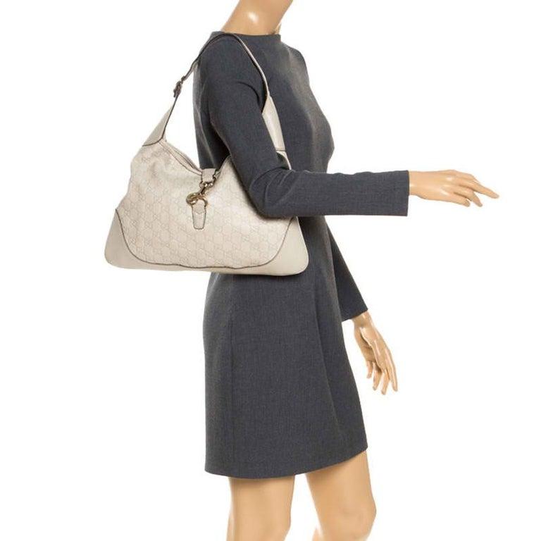 Gucci Off White Guccissima Leather New Jackie Medium Hobo In Good Condition For Sale In Dubai, Al Qouz 2