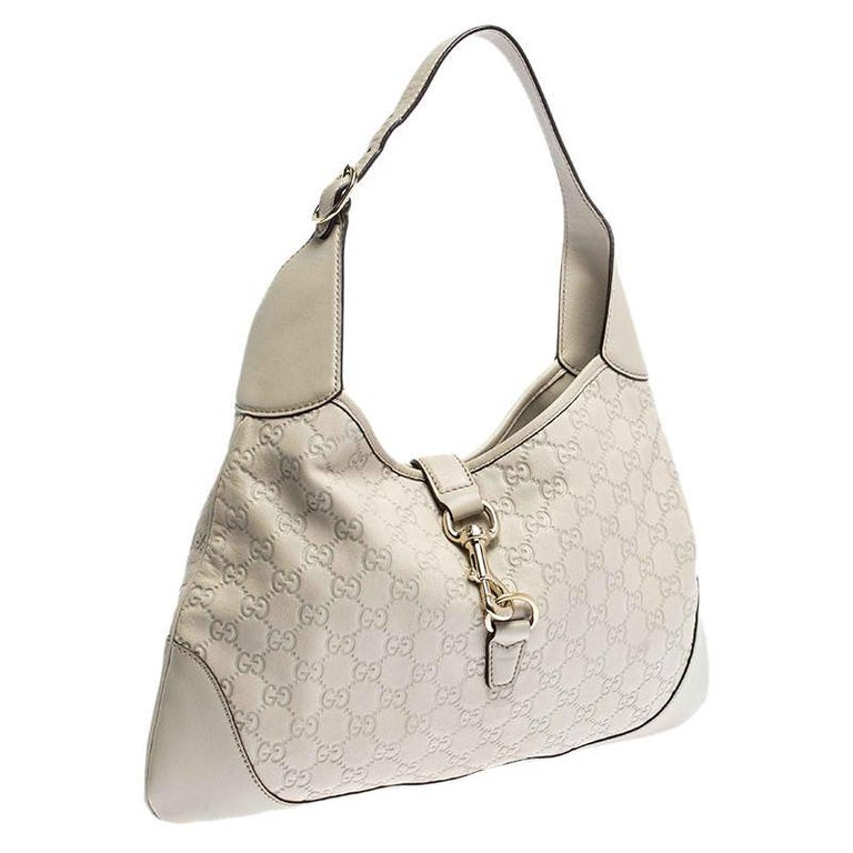 Women's Gucci Off White Guccissima Leather New Jackie Medium Hobo For Sale