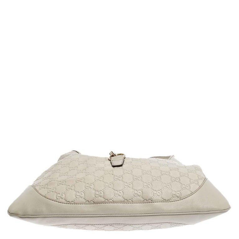 Gucci Off White Guccissima Leather New Jackie Medium Hobo For Sale 1