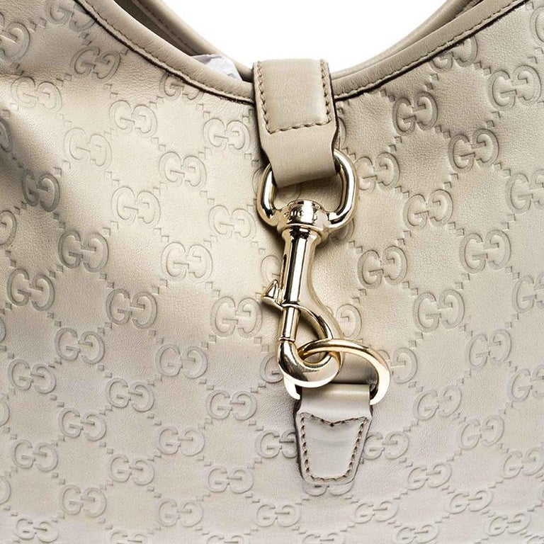 Gucci Off White Guccissima Leather New Jackie Medium Hobo For Sale 2
