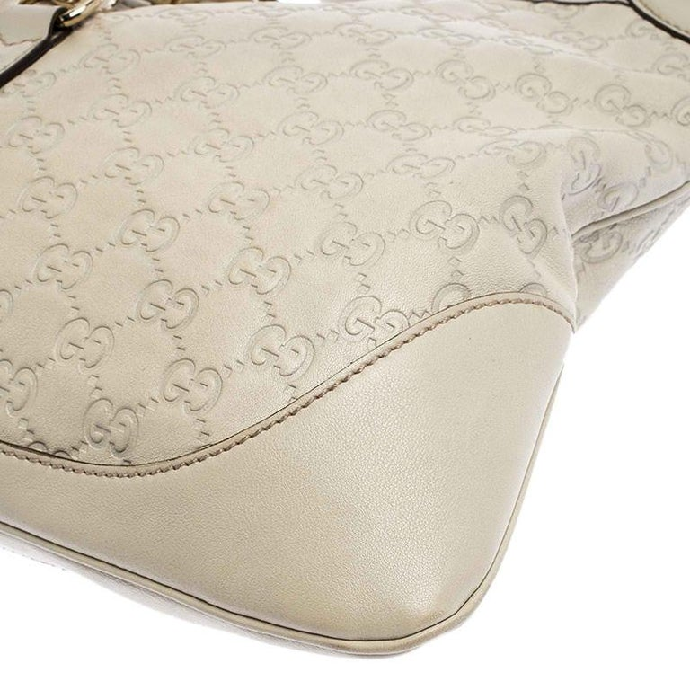 Gucci Off White Guccissima Leather New Jackie Medium Hobo For Sale 4