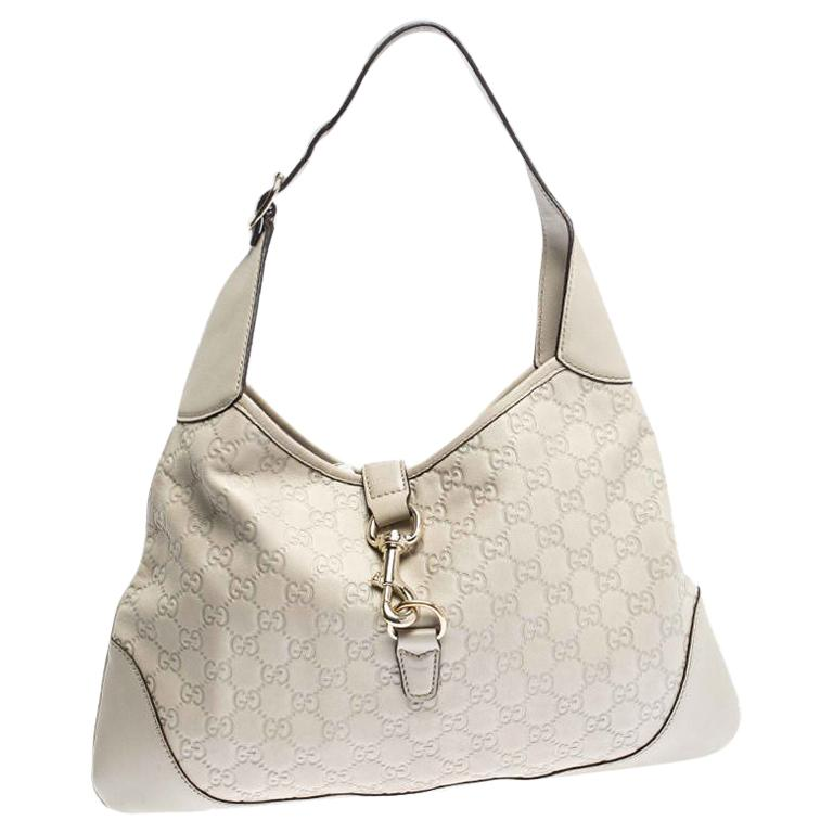 Gucci Off White Guccissima Leather New Jackie Medium Hobo For Sale