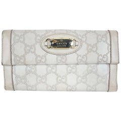 Gucci Off White Guccissima Leather Punch Continental Wallet Purse