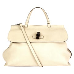 GUCCI off-white leather BAMBOO DAILY Top Handle Shoulder Bag