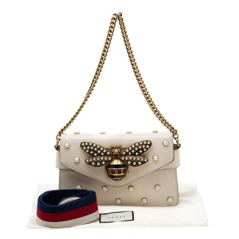 Gucci Off White Leather Broadway Pearly Bee Shoulder Bag 8