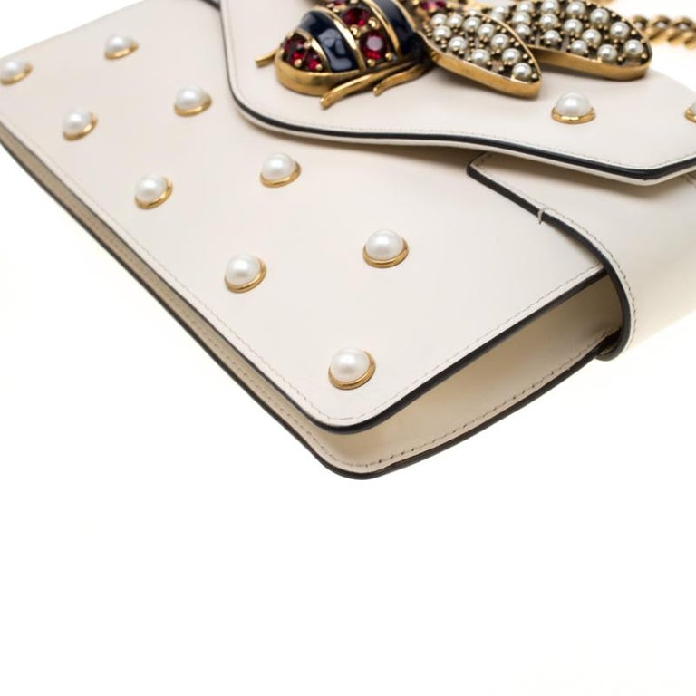 Gucci Off White Leather Broadway Pearly Bee Shoulder Bag 5