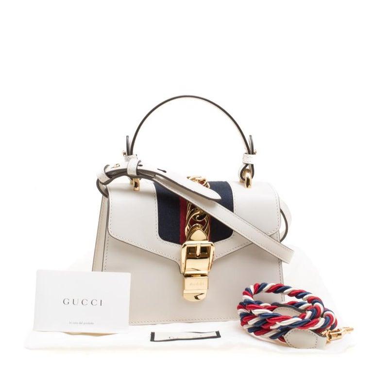 b52538da2568 Gucci Off White Leather Mini Sylvie Top Handle Bag For Sale 8