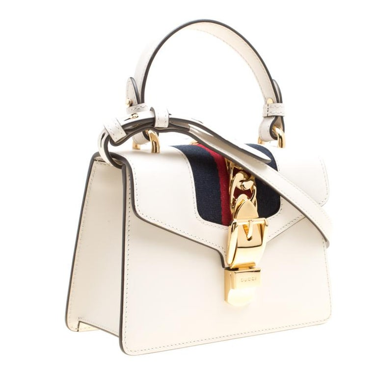 794b18c78635 Gucci Off White Leather Mini Sylvie Top Handle Bag For Sale 5