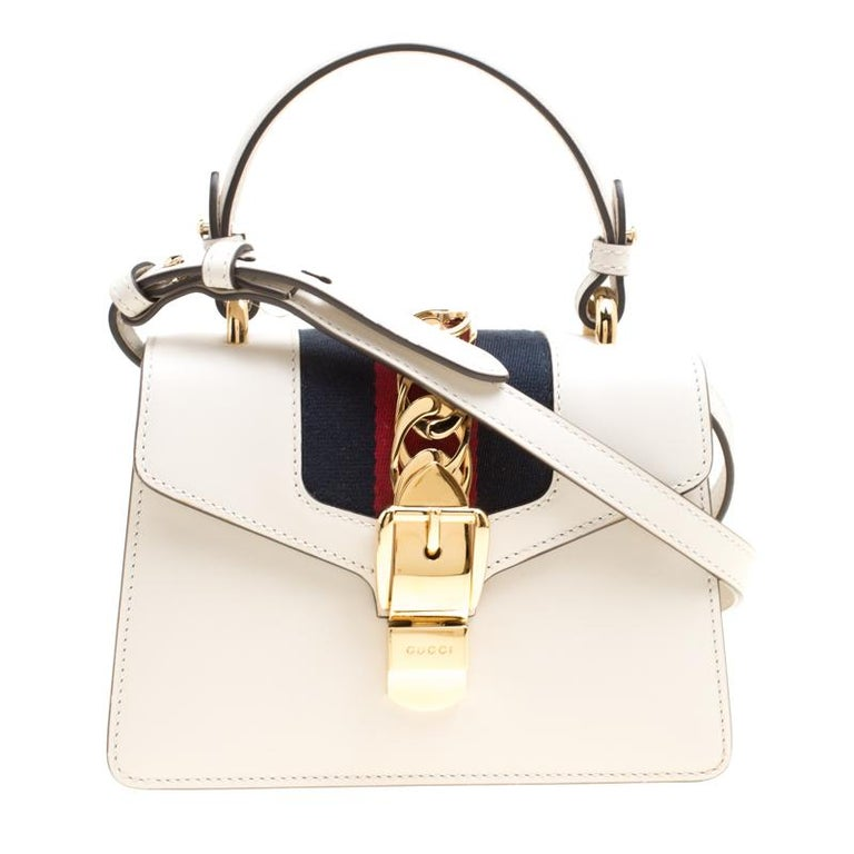 b46c1a4cd51c Gucci Off White Leather Mini Sylvie Top Handle Bag at 1stdibs