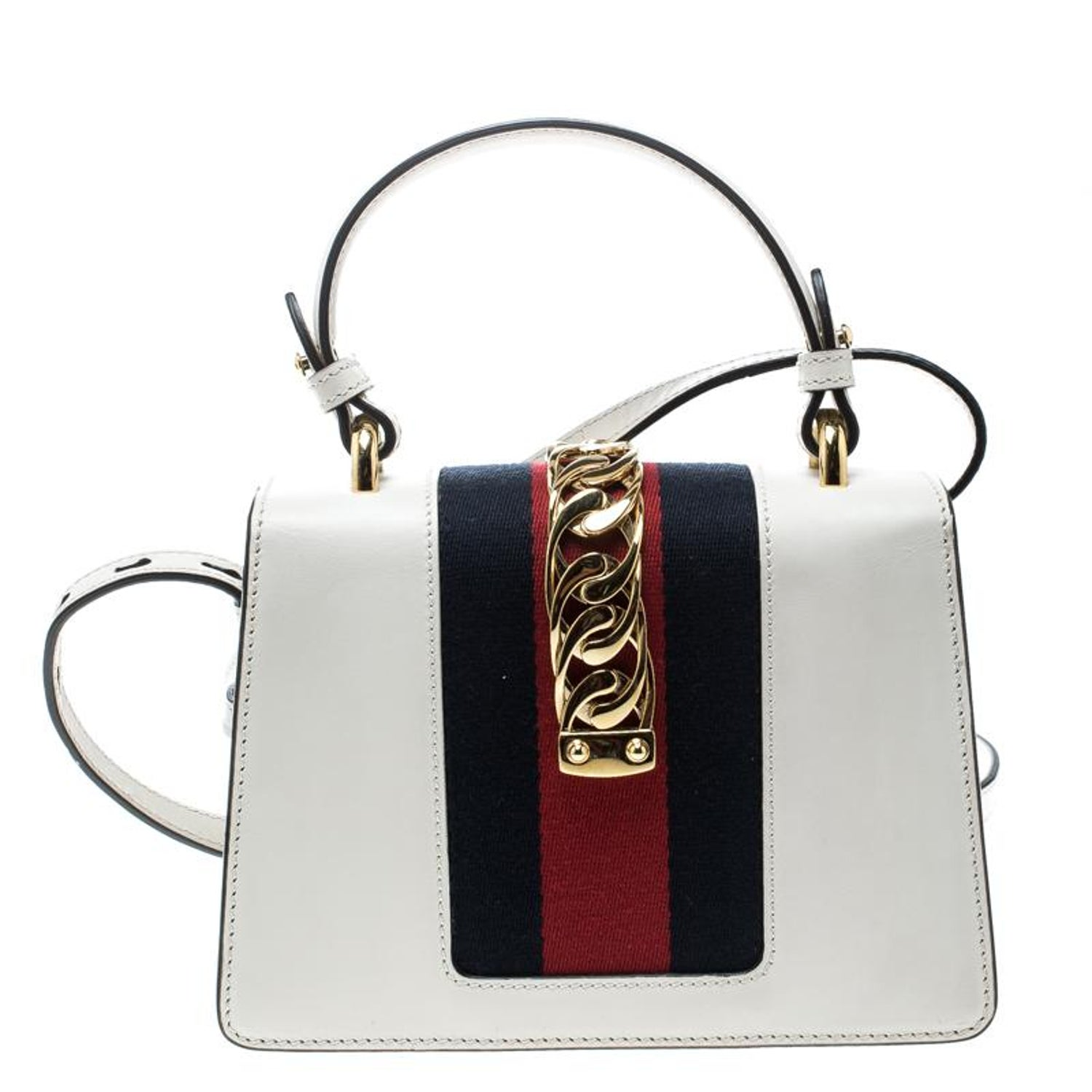 232796bd2ae Gucci Off White Leather Mini Sylvie Top Handle Bag For Sale at 1stdibs