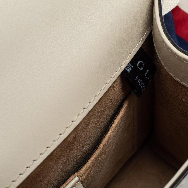 Gucci Off White Leather Mini Web Chain Sylvie Shoulder Bag 6