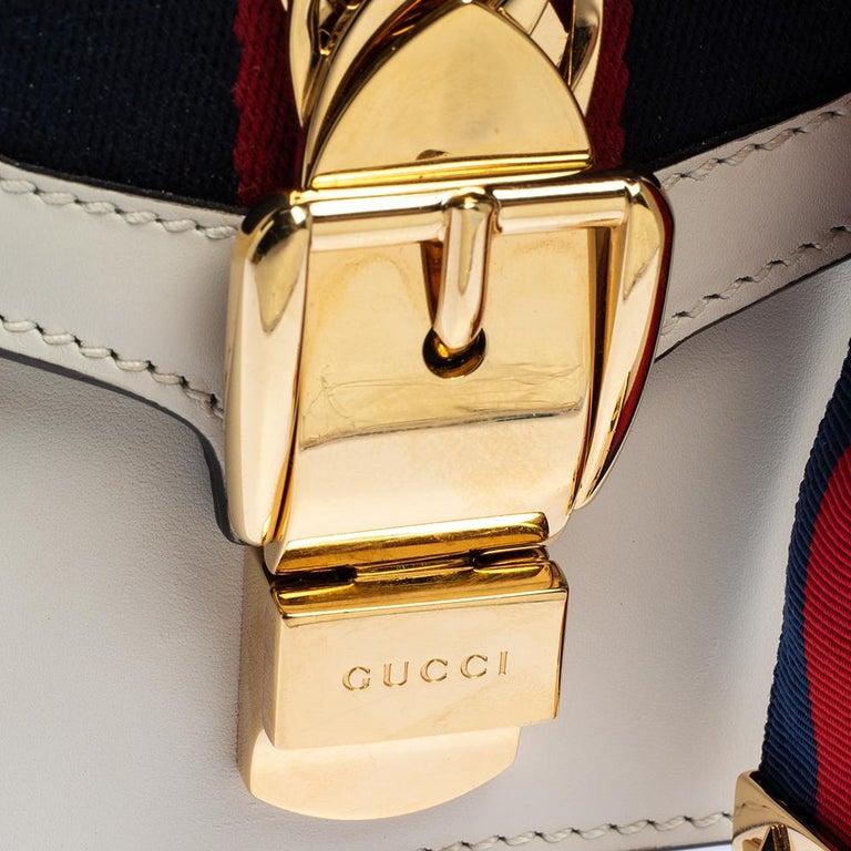 Gucci Off White Leather Mini Web Chain Sylvie Shoulder Bag 10