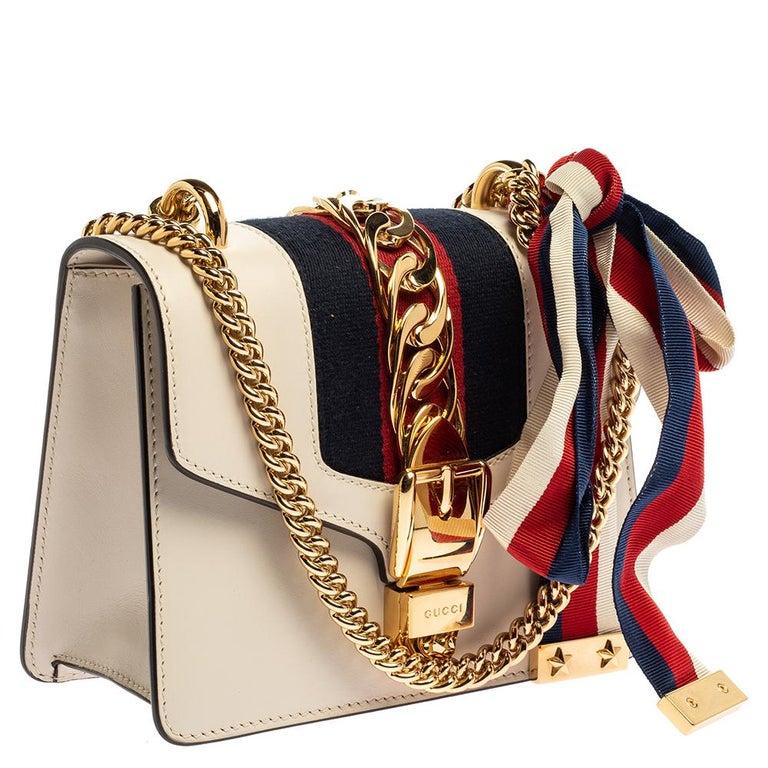 Women's Gucci Off White Leather Mini Web Chain Sylvie Shoulder Bag