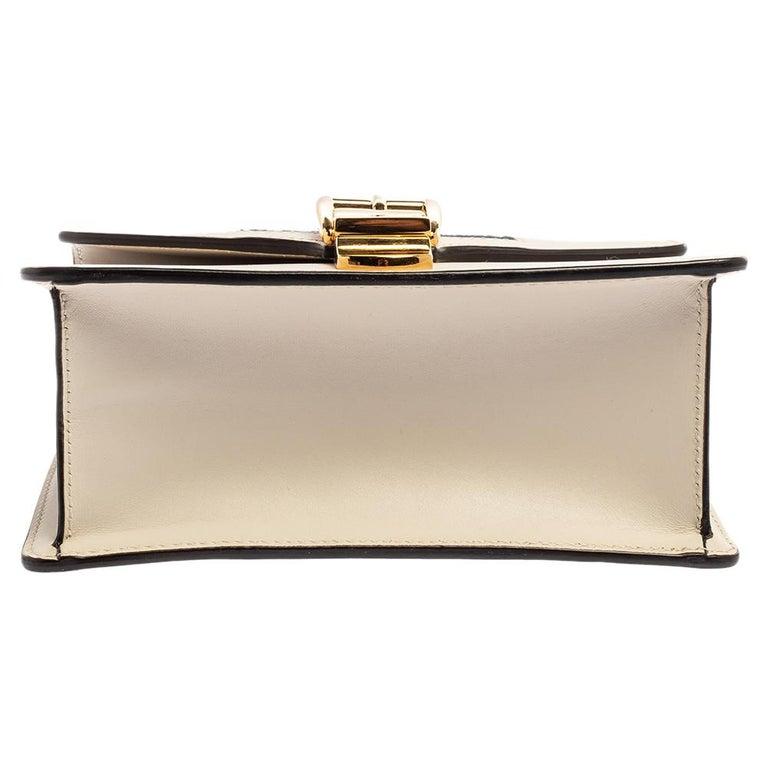 Gucci Off White Leather Mini Web Chain Sylvie Shoulder Bag 1