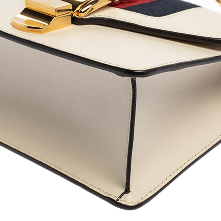 Gucci Off White Leather Mini Web Chain Sylvie Shoulder Bag 2