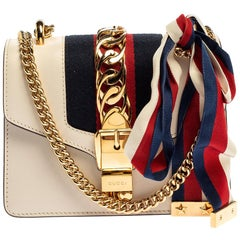 Gucci Off White Leather Mini Web Chain Sylvie Shoulder Bag