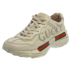 Gucci Off White Leather Rhyton Sneakers Size 41.5