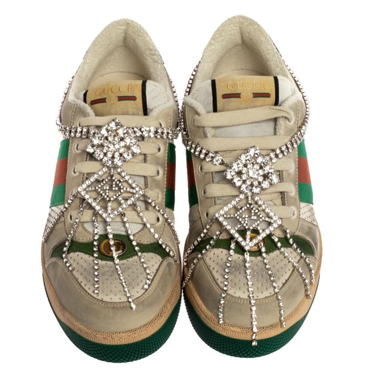 Brown Gucci Off White Leather Screener Sneakers with Crystals Size 40 For Sale