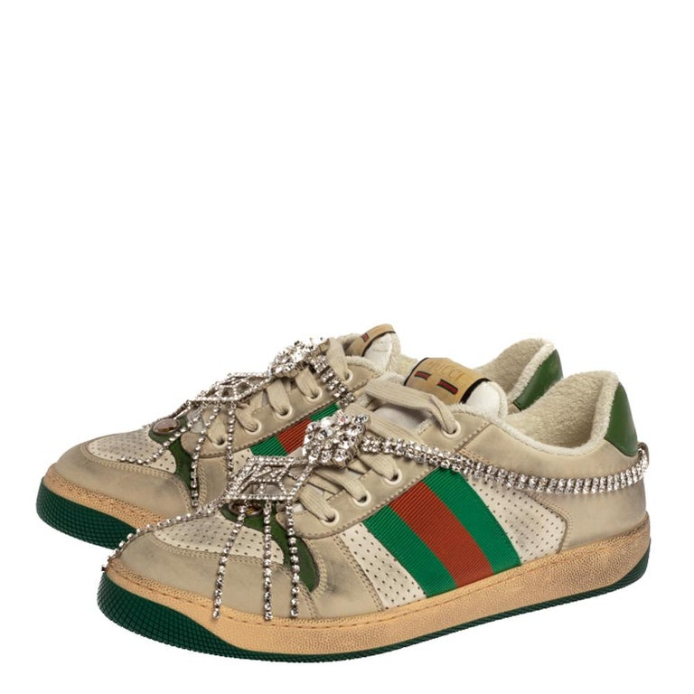 Women's Gucci Off White Leather Screener Sneakers with Crystals Size 40 For Sale