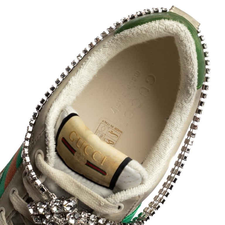 Gucci Off White Leather Screener Sneakers with Crystals Size 40 For Sale 1