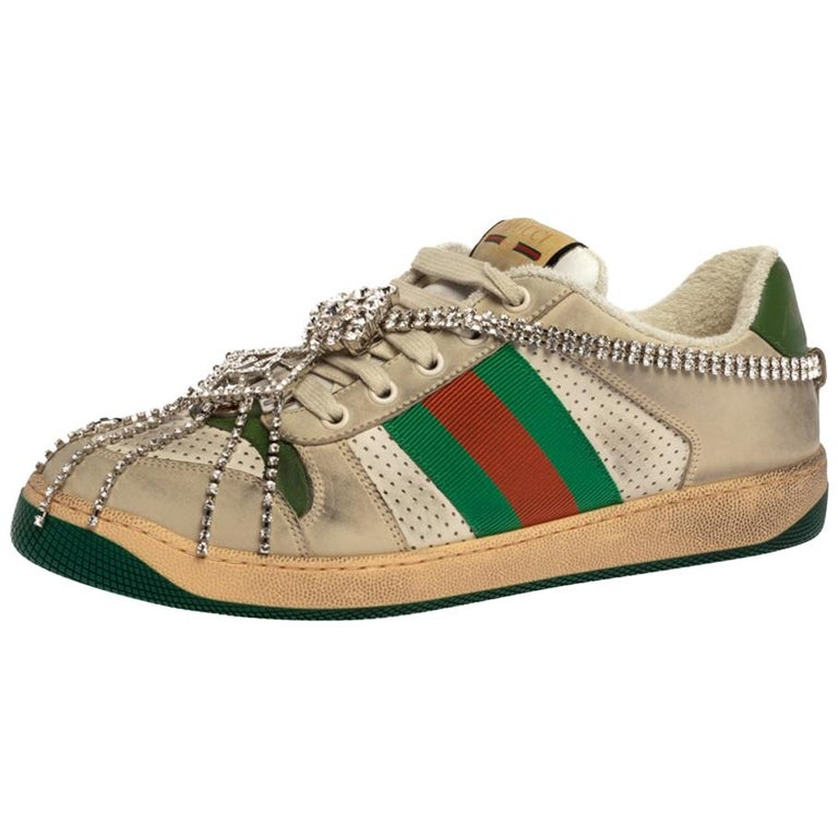 Gucci Off White Leather Screener Sneakers with Crystals Size 40 For Sale