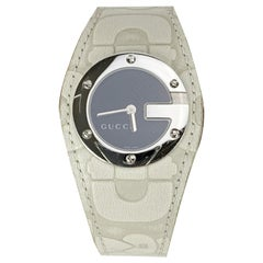 Gucci Off White Leather Stainless Steel Mod 104 Wrist Watch