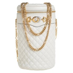 Gucci Off White Quilted Leather Zumi Cylindrical Belt Bag