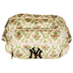GUCCI off-white satin NY YANKEE PATCH Floral Belt Bag Hip Pack