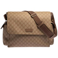 Gucci Old Rose GG Supreme Canvas and Leather Diaper Messenger Bag