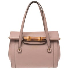 Gucci Old Rose Leather Medium New Bullet Bamboo Bag