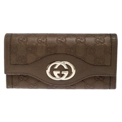 Gucci Olive Green Guccissima Leather Sukey Continental Wallet