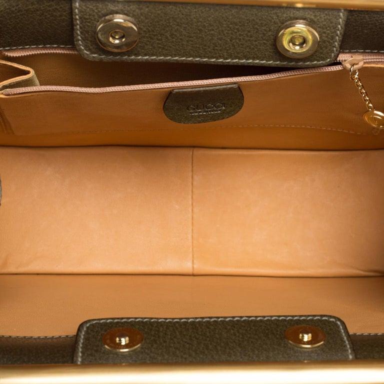 Gucci Olive Green Leather Vintage Horsebit Doctor's Bag 5