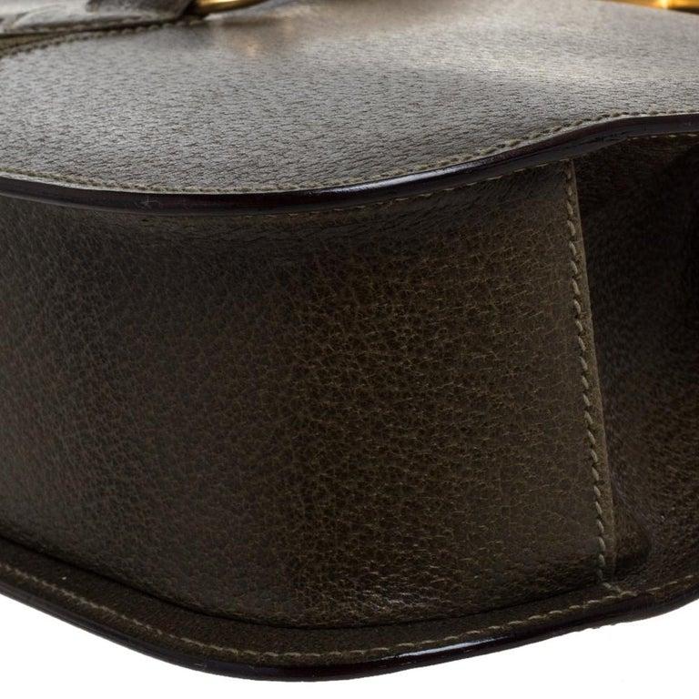 Gucci Olive Green Leather Vintage Horsebit Doctor's Bag 6