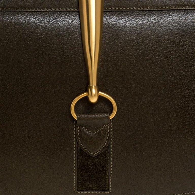 Gucci Olive Green Leather Vintage Horsebit Doctor's Bag 8