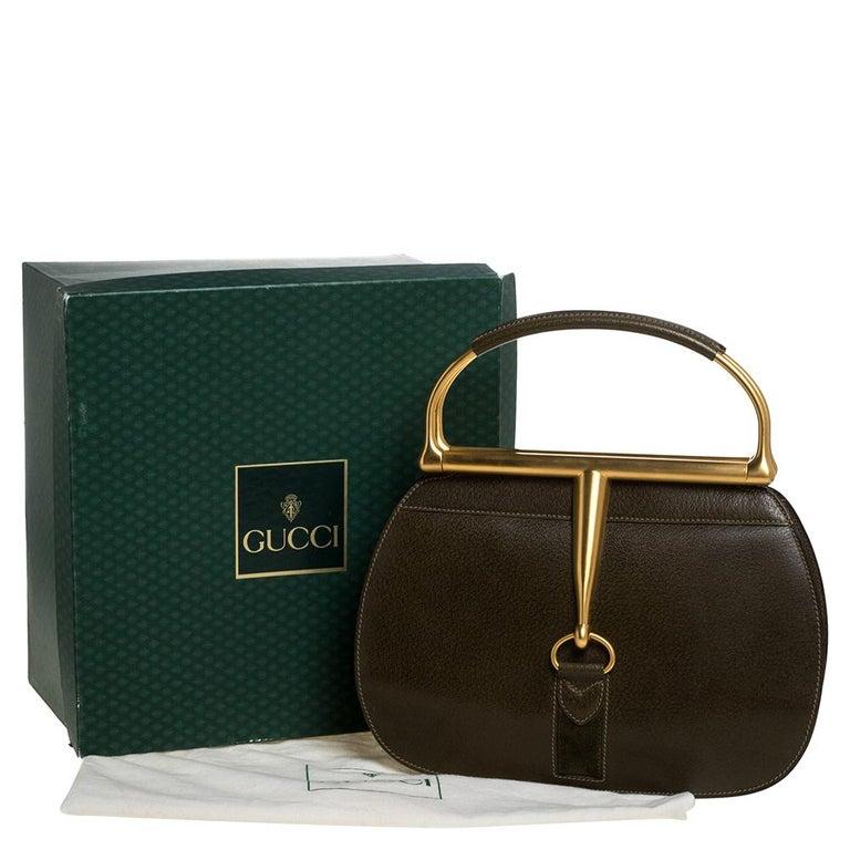 Gucci Olive Green Leather Vintage Horsebit Doctor's Bag 9