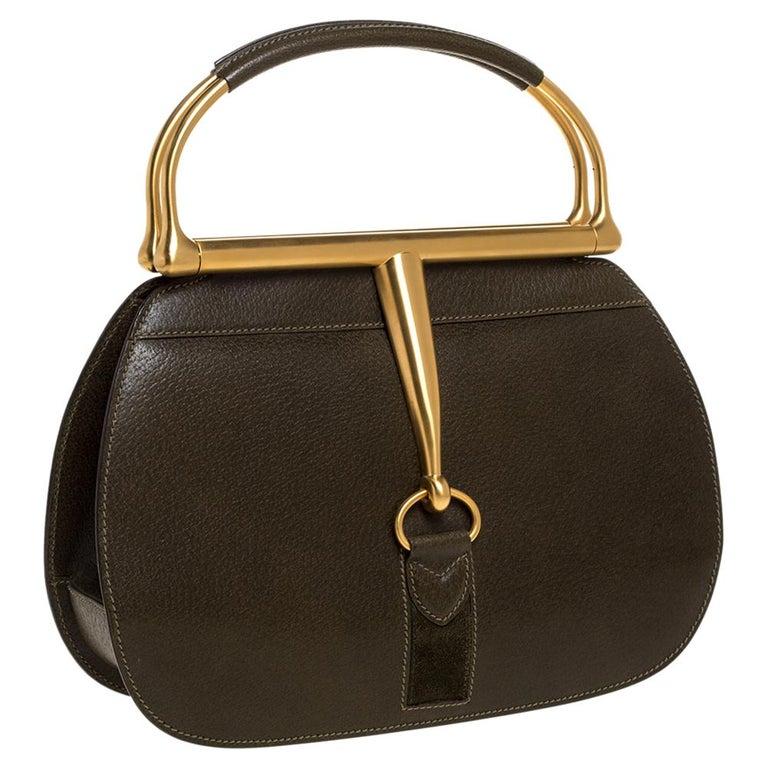 Gucci Olive Green Leather Vintage Horsebit Doctor's Bag In Excellent Condition In Dubai, Al Qouz 2