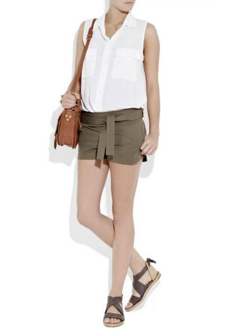 Women's NEW Gucci Olive Hot Pants Shorts with Bamboo Detail Belt For Sale