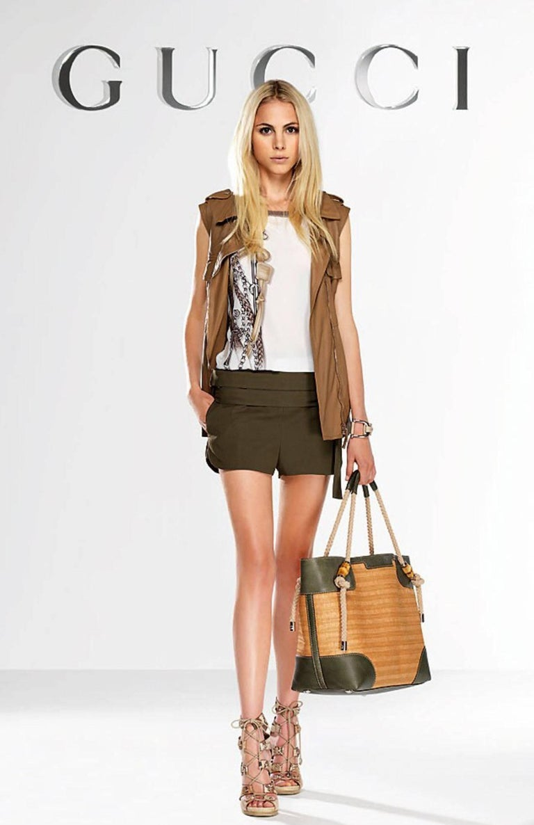 NEW Gucci Olive Hot Pants Shorts with Bamboo Detail Belt For Sale 1
