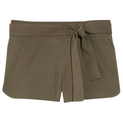 Gucci Olive Hot Pants Shorts with Bamboo Detail Belt