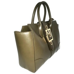 Gucci Olive Swing Top Handle Gold Tone Hardware Tote