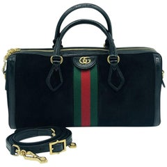 Gucci Ophidia Boston Black Suede bag - with strap- New
