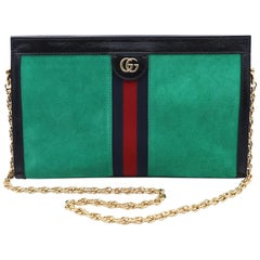 Gucci Ophidia Chain Green Suede Shoulder Bag Size Medium 503876
