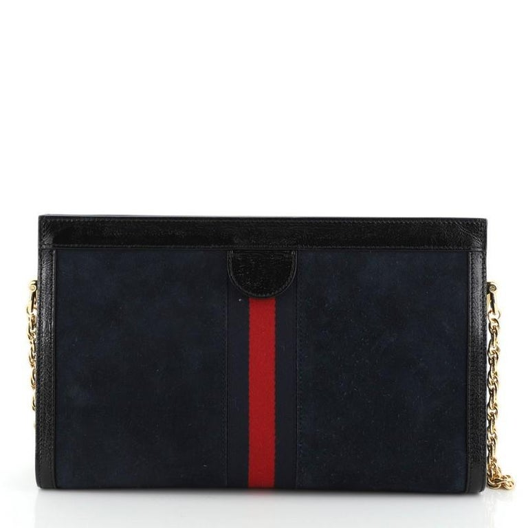 Gucci Ophidia Chain Shoulder Bag Embroidered Suede Medium In Good Condition For Sale In New York, NY