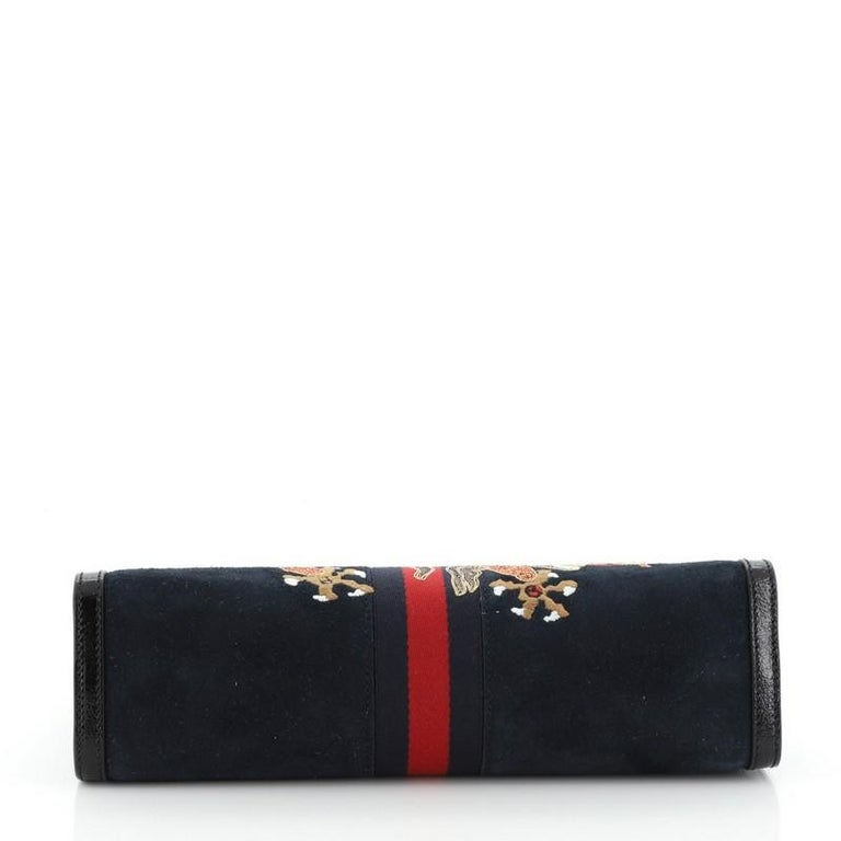Women's or Men's Gucci Ophidia Chain Shoulder Bag Embroidered Suede Medium For Sale