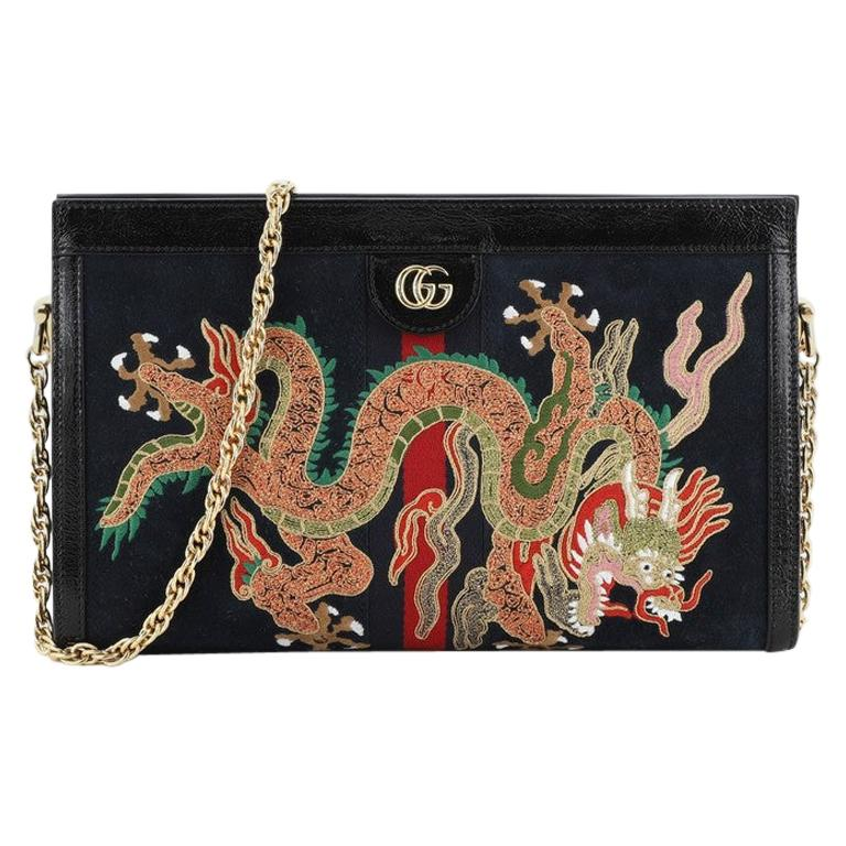 Gucci Ophidia Chain Shoulder Bag Embroidered Suede Medium For Sale