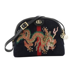 Gucci Ophidia Dome Shoulder Bag Embroidered Suede Small